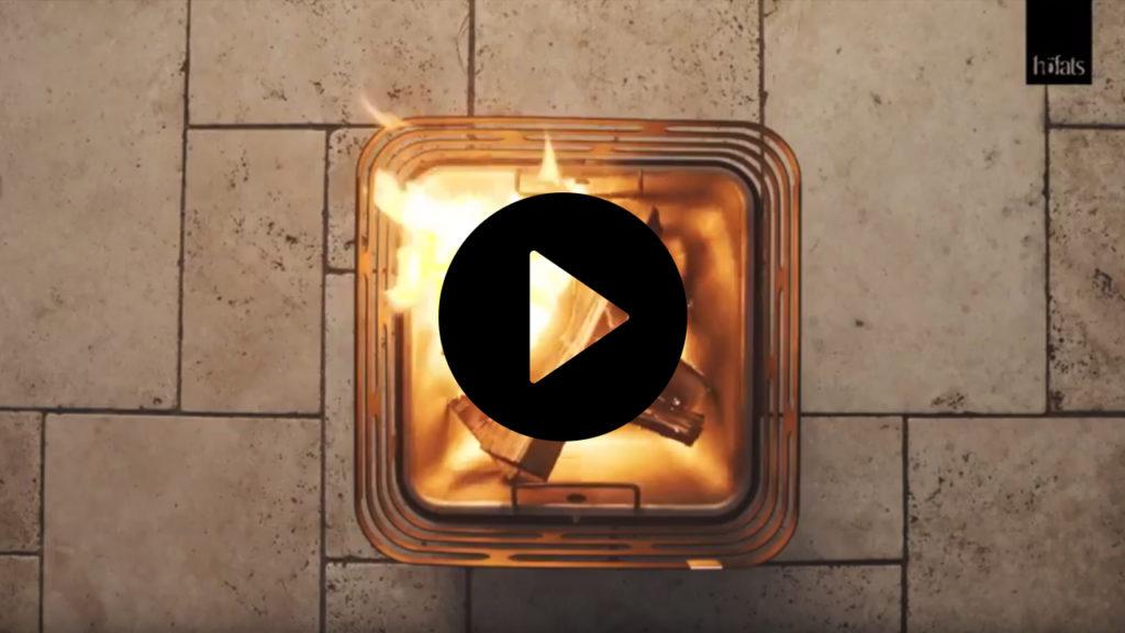 CUBE von höfats ist Feuerkorb, Grill und Hocker in einem.